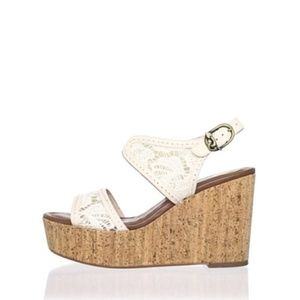 House Of Harlow 1960 Gladys Open Toe Canvas Wedge
